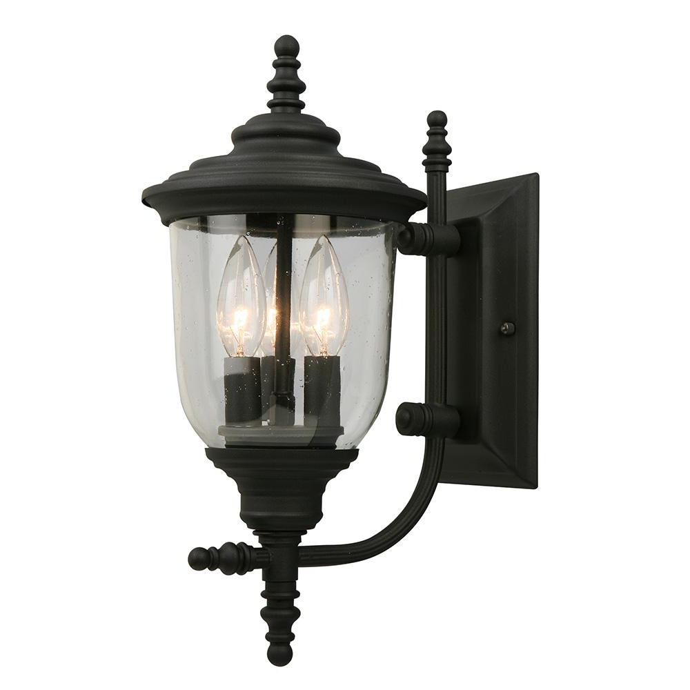 Most Current Roden Black 3 Bulb Outdoor Wall Lanterns Pertaining To Eglo Pinedale 3 Light Matte Black Outdoor Wall Lantern (View 8 of 15)