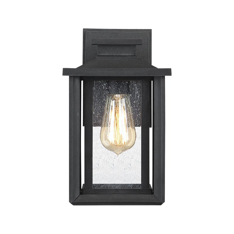 Most Popular Alcott Hill® Higuchi Earth Black Seeded Glass Outdoor Wall Intended For Ainsworth Earth Black Outdoor Wall Lanterns (View 4 of 15)