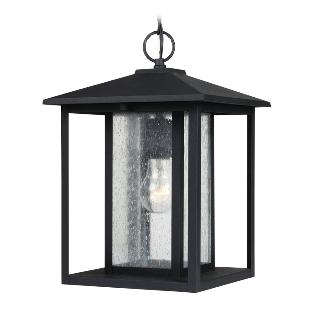 Most Popular Chelston 12'' H Seeded Glass Outdoor Wall Lanterns Regarding Seeded Glass Outdoor Hanging Light Black Sea Gull Lighting (View 2 of 15)