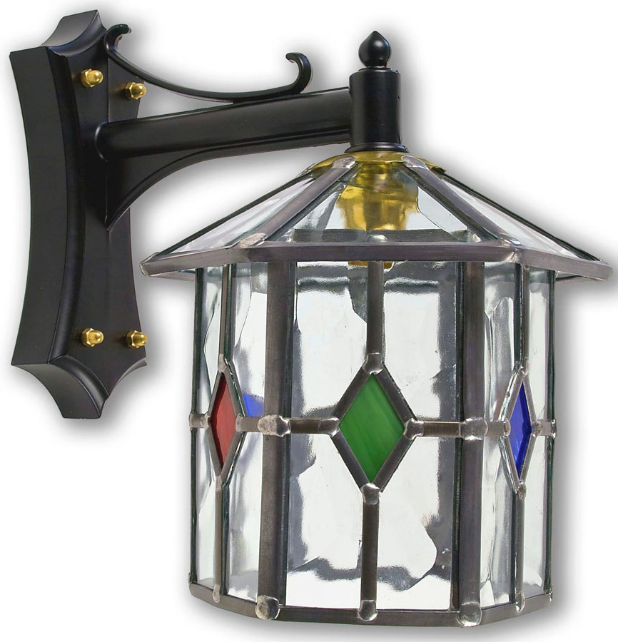Most Popular Handmade Hexagonal Multi Coloured Leaded Glass Outdoor Within Chicopee Beveled Glass Outdoor Wall Lanterns (View 4 of 15)