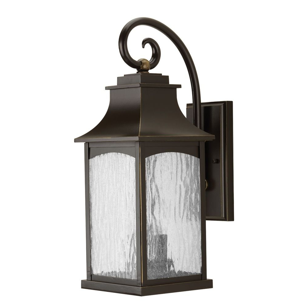 Most Popular Heinemann Rubbed Bronze Seeded Glass Outdoor Wall Lanterns With Regard To Water Seeded Glass Outdoor Wall Light Oil Rubbed Bronze (View 9 of 15)