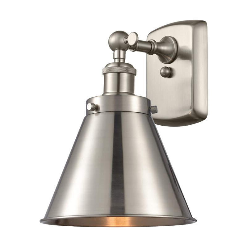 Most Popular Longshore Tides Conan 1 – Light Dimmable Armed Sconce Pertaining To Cantrall 2 – Bulb 15'' H Outdoor Armed Sconces (View 3 of 15)