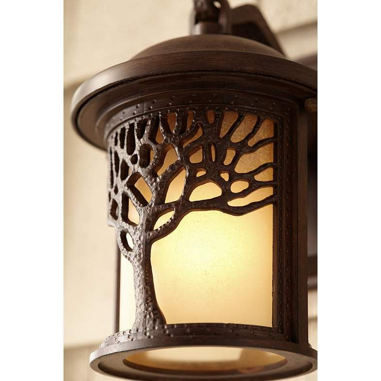 """Most Recent Bronze Mission Style Tree 9 1/2"""" High Outdoor Wall Light Within Chicopee 2 – Bulb Glass Outdoor Wall Lanterns (View 11 of 15)"""