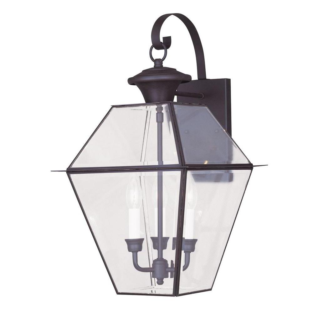 Most Recent Meunier Glass Outdoor Wall Lanterns Regarding Livex Lighting 3 Light Bronze Outdoor Wall Lantern With (View 7 of 15)