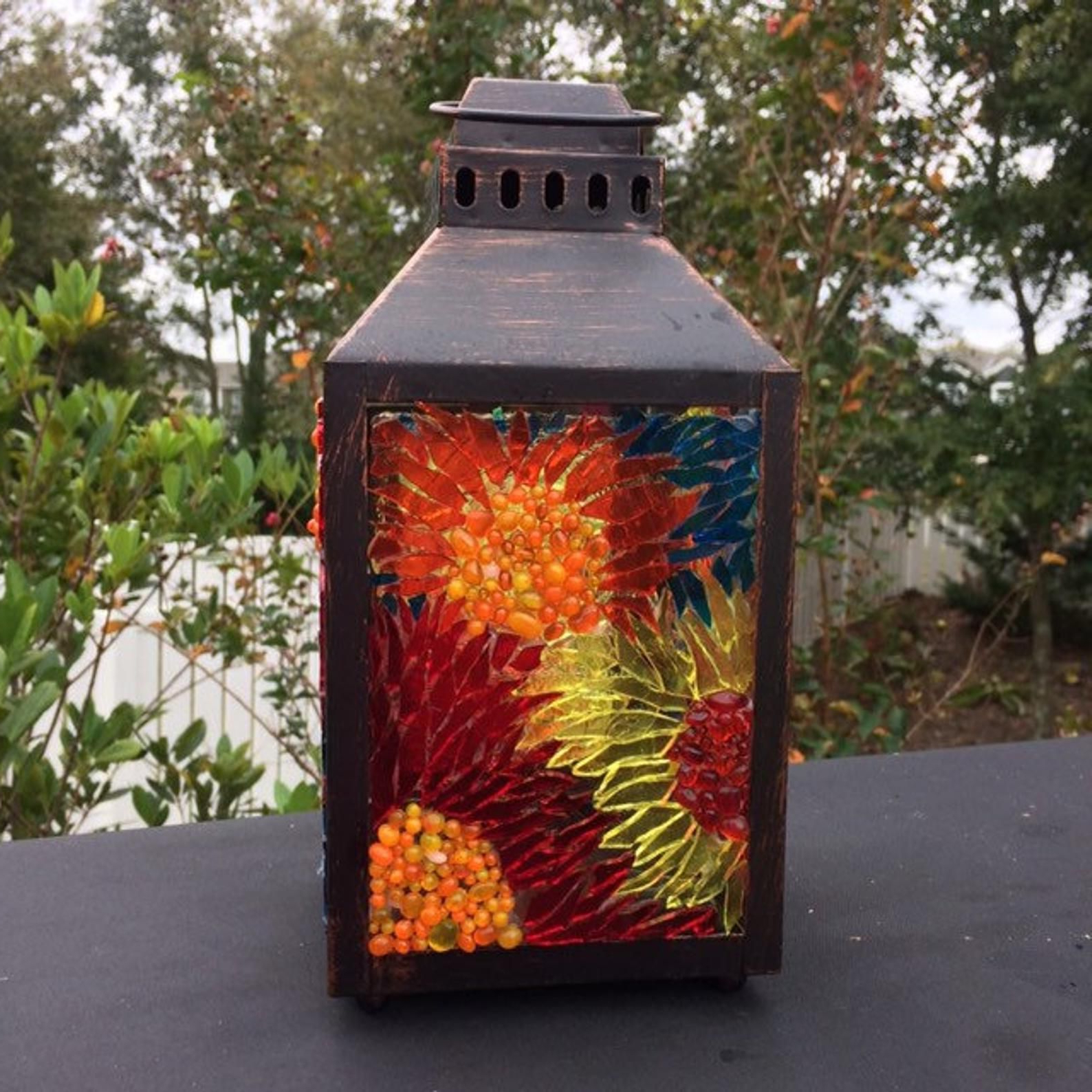 Most Recent Mosaic Lantern Small, Stained Glass Lamtern For Garden With Regard To Wrentham Beveled Glass Outdoor Wall Lanterns (View 9 of 15)
