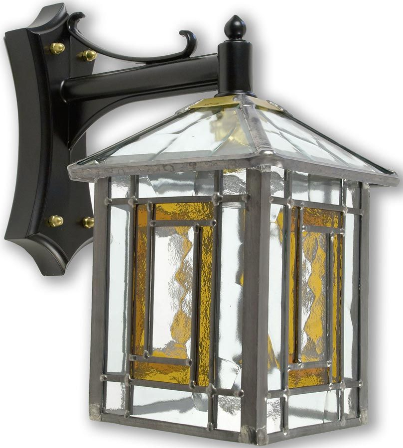 Most Recent Poole Traditional Amber Leaded Stained Glass Outdoor Wall Throughout Chicopee Beveled Glass Outdoor Wall Lanterns (View 8 of 15)