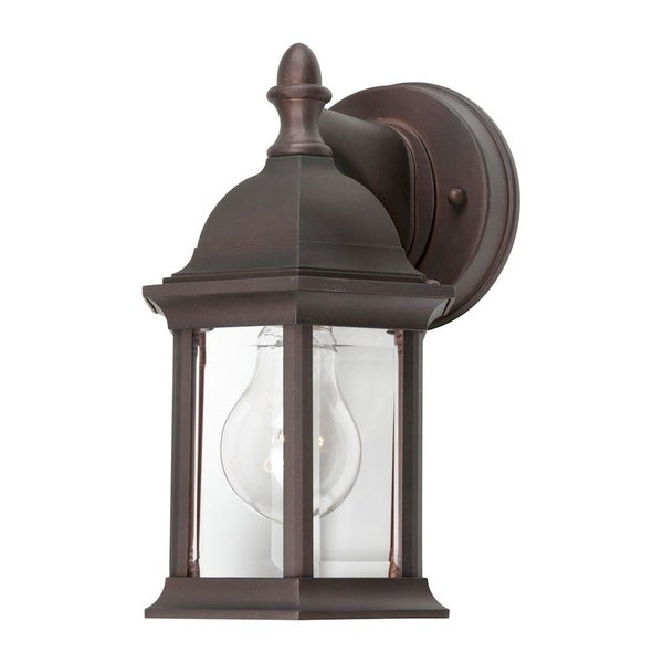 Most Recently Released Chicopee Beveled Glass Outdoor Wall Lanterns With Antique Bronze Outdoor Wall Lantern With Clear Beveled (View 15 of 15)