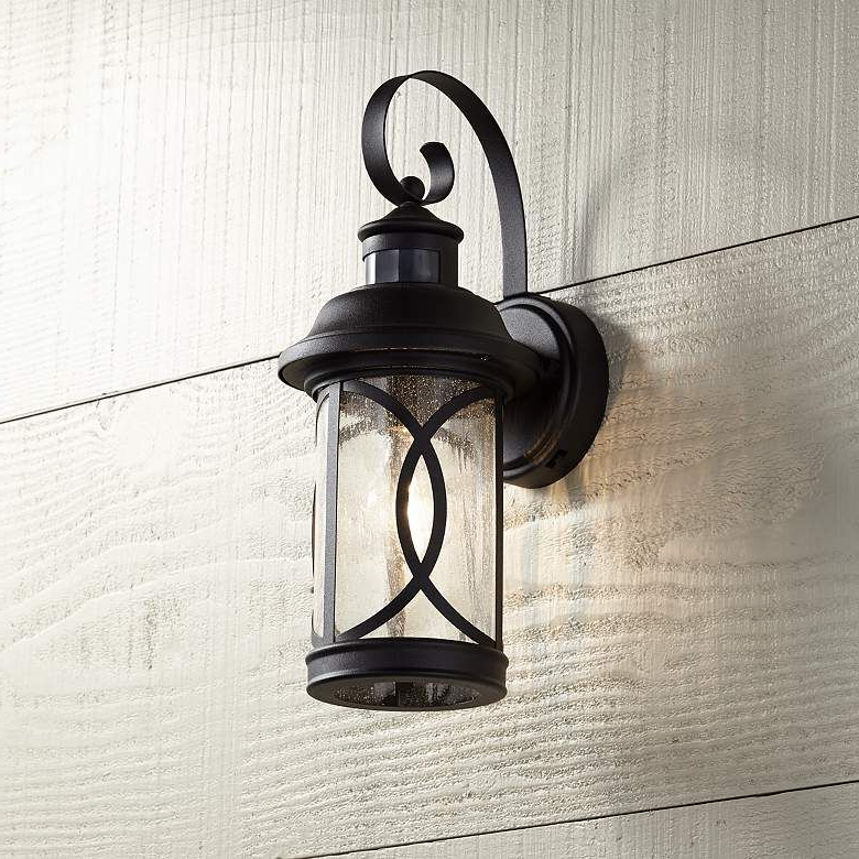"""Most Recently Released Clarisa Seeded Glass Outdoor Barn Lights With Dusk To Dawn With Capistrano 12 3/4""""h Black Motion Sensor Outdoor Wall Light (View 7 of 15)"""