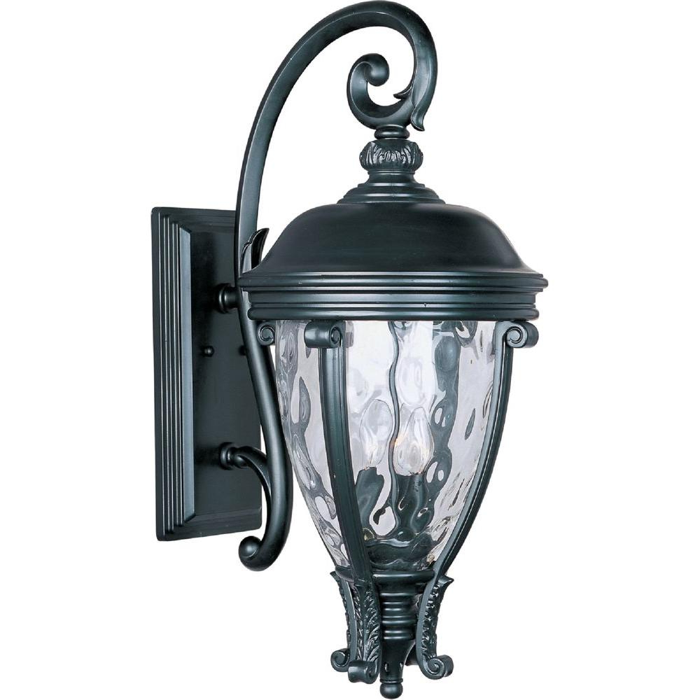 Most Recently Released Maxim Lighting Camden Vivex 3 Light Black Outdoor Wall Within Roden Black 3 Bulb Outdoor Wall Lanterns (View 7 of 15)