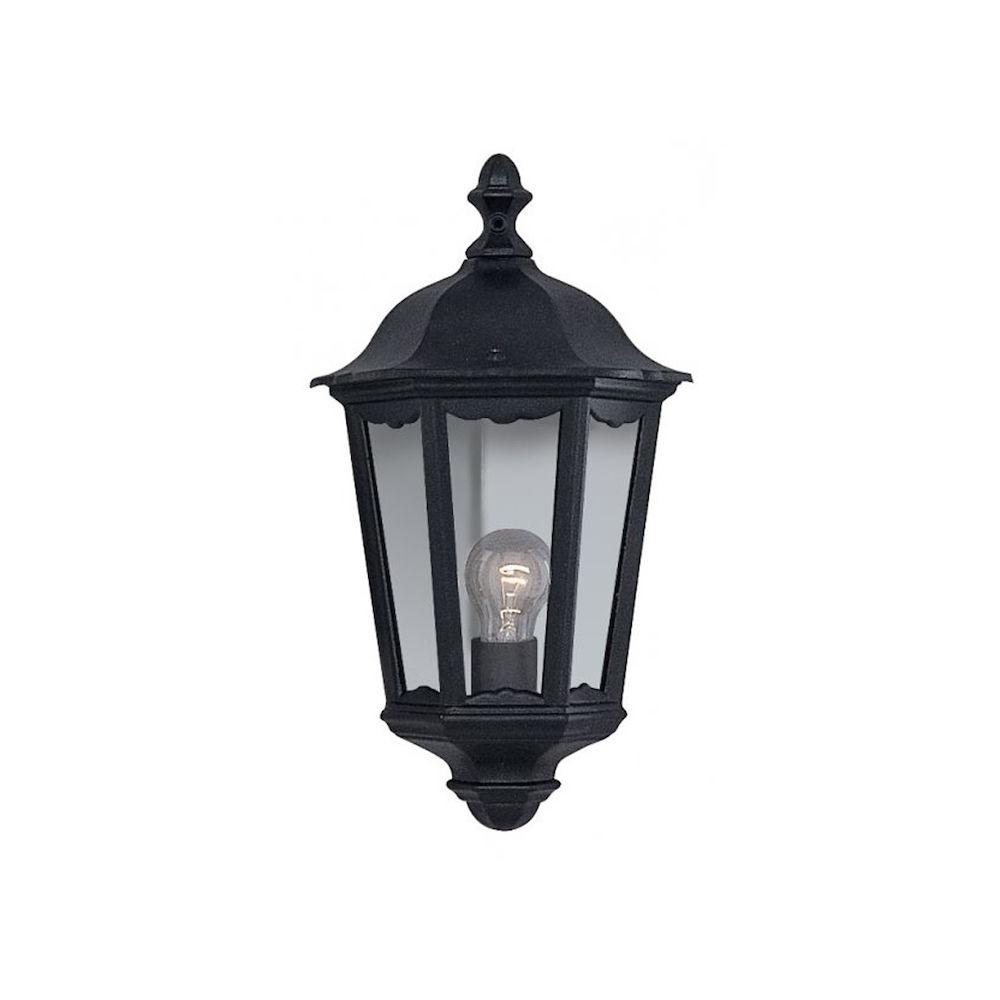 Most Recently Released Merild Textured Black Wall Lanterns Pertaining To Ip44 E27 Alex Black Aluminium Outdoor Wall Half Lantern (View 6 of 15)