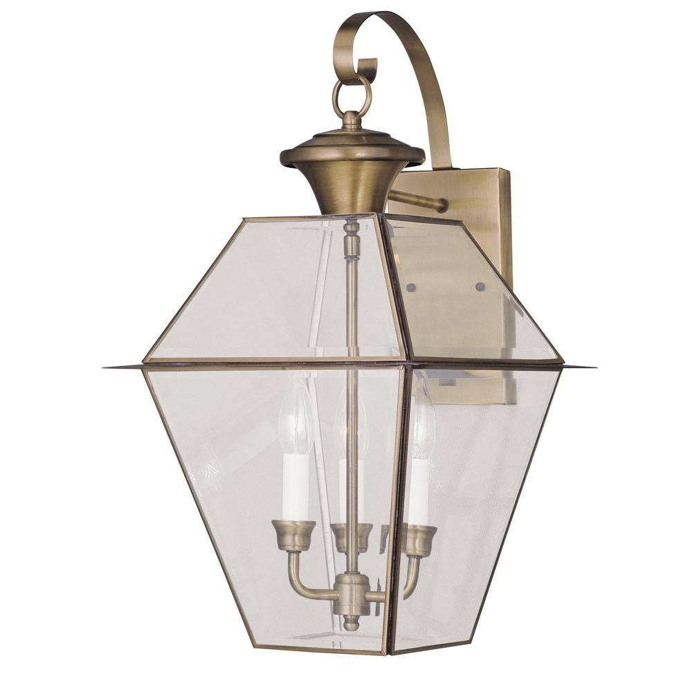 Most Recently Released Meunier Glass Outdoor Wall Lanterns With Livex Lighting 3 Light Antique Brass Outdoor Wall Lantern (View 15 of 15)