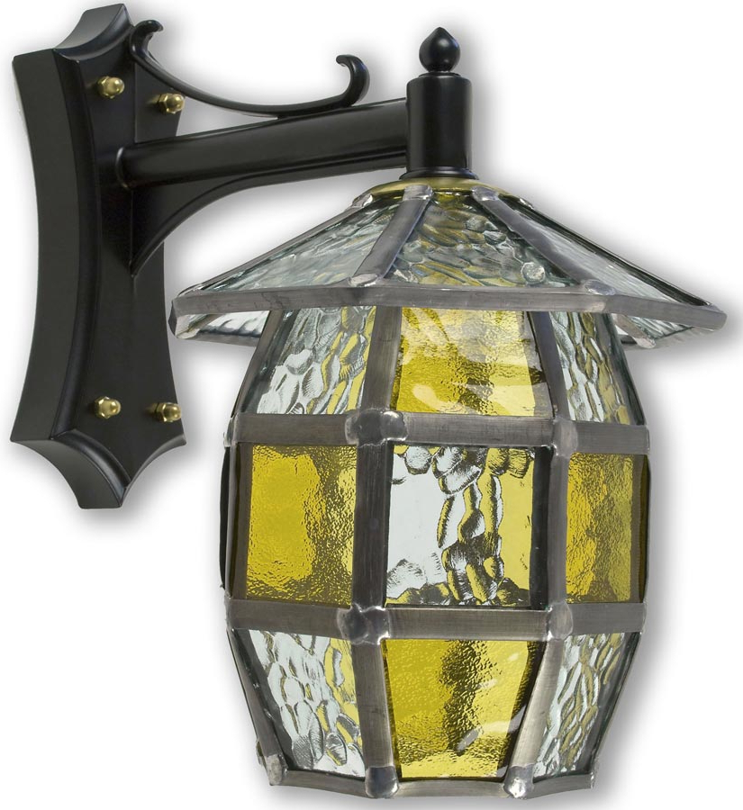 Most Up To Date Barrel Handmade Honey Amber Leaded Glass Outdoor Wall Lantern Intended For Gillian Beveled Glass Outdoor Wall Lanterns (View 9 of 15)