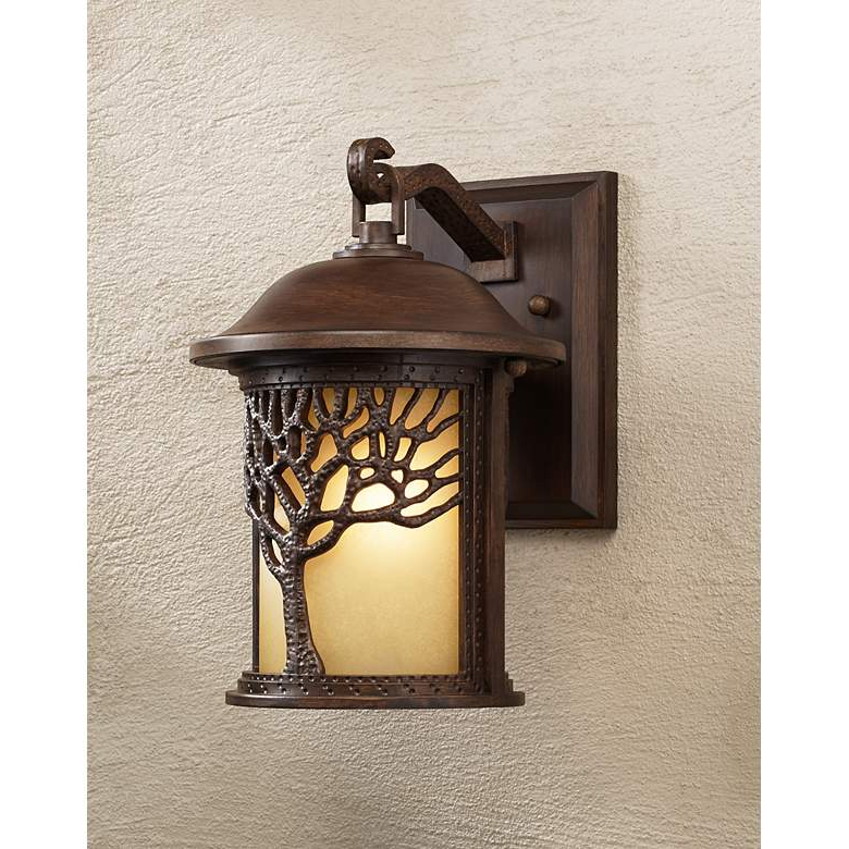 """Most Up To Date Bronze Mission Style Tree 12 1/4"""" High Outdoor Wall Light In 1 – Bulb Outdoor Wall Lanterns (View 3 of 15)"""