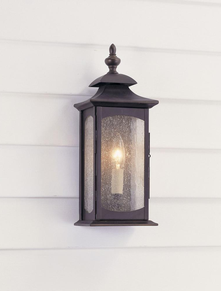 Most Up To Date Heinemann Rubbed Bronze Seeded Glass Outdoor Wall Lanterns Inside Feiss One Light Oil Rubbed Bronze Clear Seeded Glass Wall (View 8 of 15)