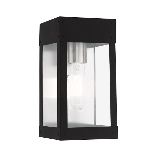 Most Up To Date Livex Lighting Barrett Small 9.75 In. H 1 Light Black Inside Vernie Black  (View 11 of 15)