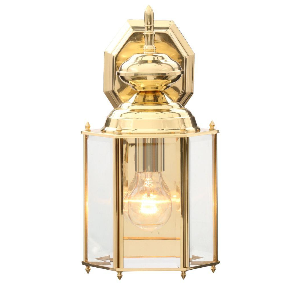 Most Up To Date Meunier Glass Outdoor Wall Lanterns With Regard To Progress Lighting Brass Guard Collection Polished Brass  (View 6 of 15)