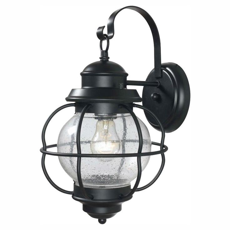 Most Up To Date Palma Black/clear Seeded Glass Outdoor Wall Lanterns Regarding Home Decorators Collection Greer 1 Light Black Exterior (View 12 of 15)