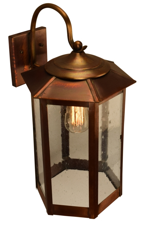 Most Up To Date Tilley Olde Bronze Water Glass Outdoor Wall Lanterns Pertaining To Baja Mission Style Outdoor Wall Light With Bracket Copper (View 5 of 15)