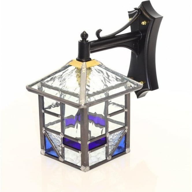 Most Up To Date Traditional Outdoor Wall Lantern With Blue And Clear Glass Inside Chicopee Beveled Glass Outdoor Wall Lanterns (View 11 of 15)