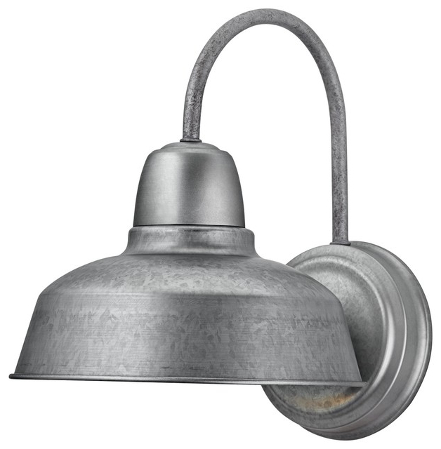 """Newest Arryonna Outdoor Barn Lights Pertaining To Urban Barn 13"""" High Galvanized Outdoor Wall Light (View 5 of 15)"""