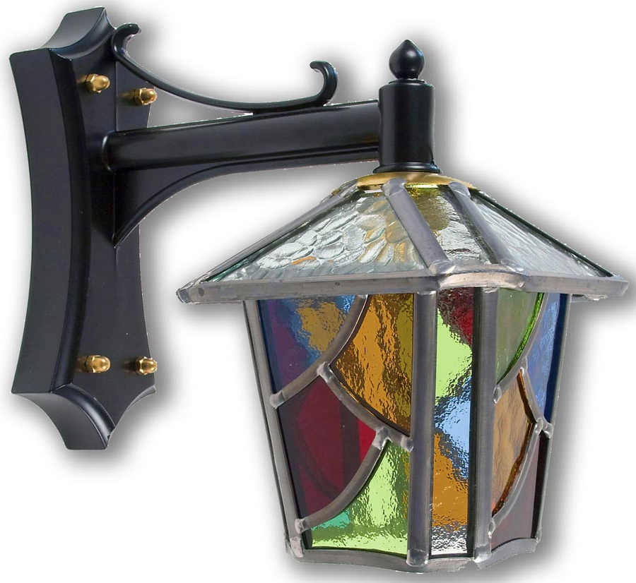 Newest Chepstow Multi Coloured Leaded Glass Mini Outdoor Wall Lantern Within Gillian Beveled Glass Outdoor Wall Lanterns (View 2 of 15)