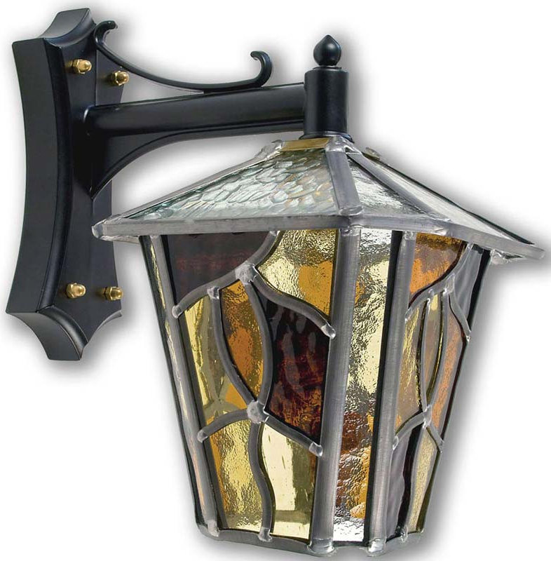 Newest Chicopee Beveled Glass Outdoor Wall Lanterns Inside Coniston Amber Leaded Glass Downward Outdoor Wall Lantern (View 3 of 15)