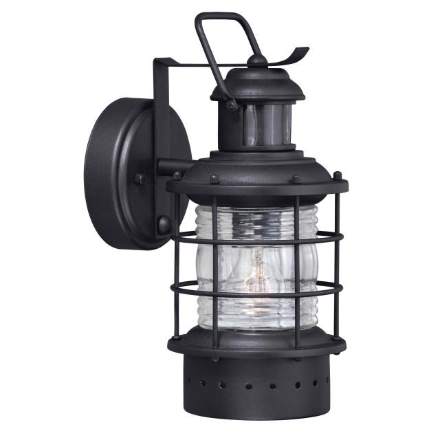 Newest Hyannis Black Motion Sensor Dusk To Dawn Coastal Outdoor With Regard To Manteno Black Outdoor Wall Lanterns With Dusk To Dawn (View 15 of 15)