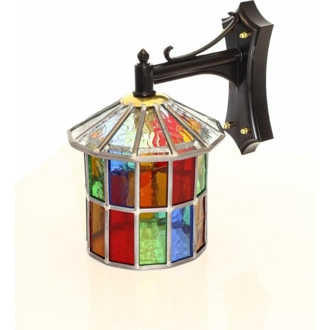 Newest Wrentham Beveled Glass Outdoor Wall Lanterns In Multi Coloured Stained Glass Outdoor Wall Lantern, Ip (View 6 of 15)