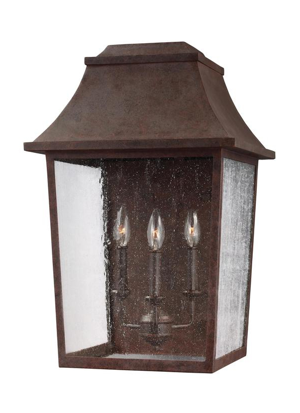 Ol11903pcr,3 – Light Outdoor Wall Lantern,patina Copper For Most Recently Released Chelston 12'' H Seeded Glass Outdoor Wall Lanterns (View 15 of 15)