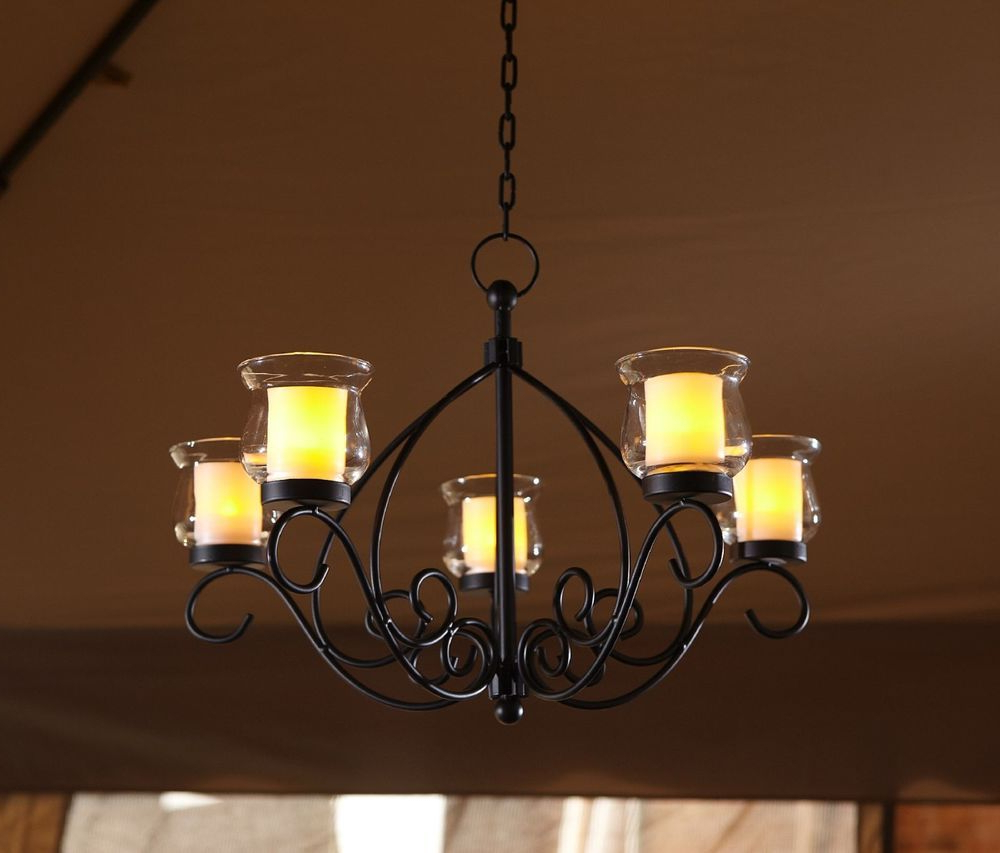 Outdoor Hanging Candle Chandelier Gazebo Backyard Patio Pertaining To Famous Vera Outdoor Wall Lanterns (View 10 of 15)