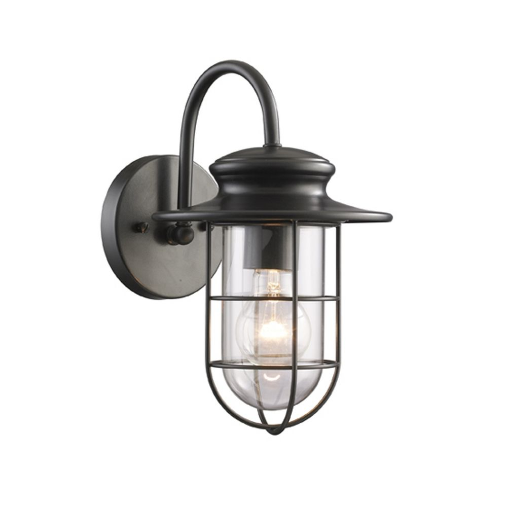 Outdoor Wall Light With Clear Glass In Matte Black Finish Throughout Latest Armanno Matte Black Wall Lanterns (View 15 of 15)