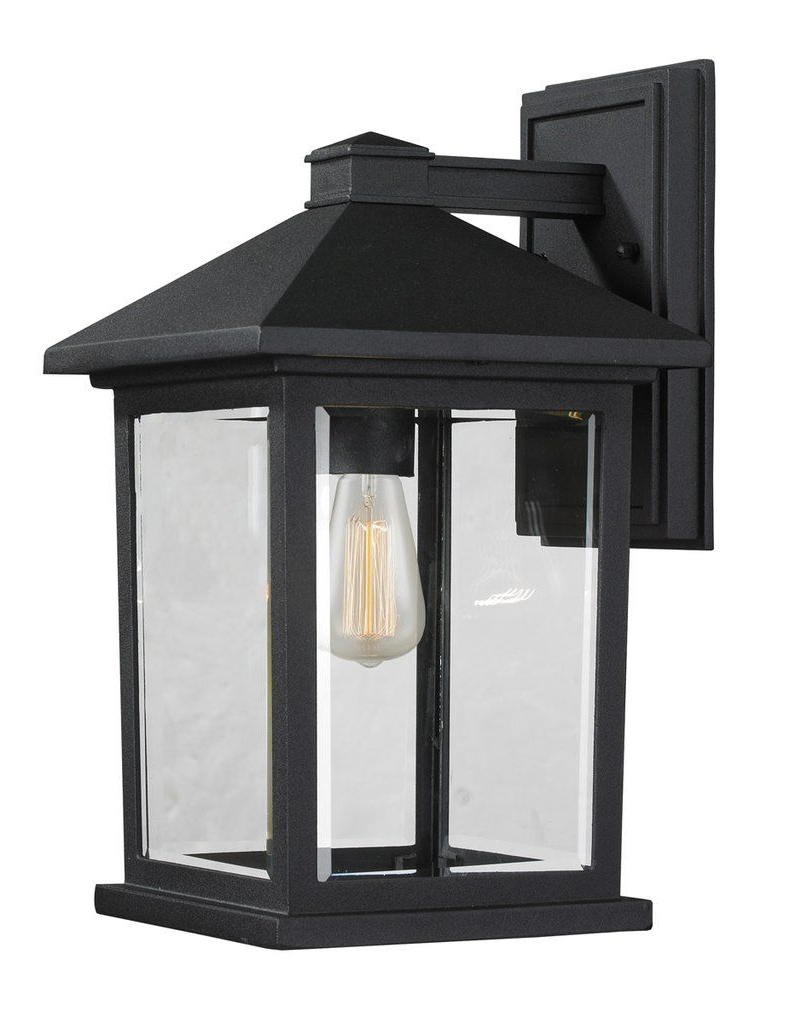 Palma Black/clear Seeded Glass Outdoor Wall Lanterns For Newest Z Lite 531m Bk Portland 1 Light 14 Inch Black Outdoor Wall (View 13 of 15)