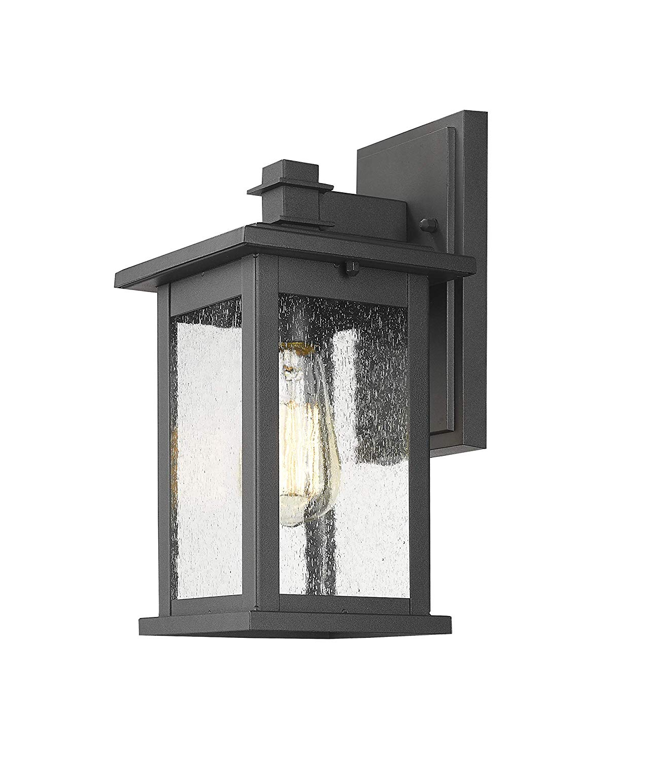 Palma Black/clear Seeded Glass Outdoor Wall Lanterns Intended For Most Current Lot Detail – Emliviar Indoor/outdoor Wall Mount Sconce (View 15 of 15)