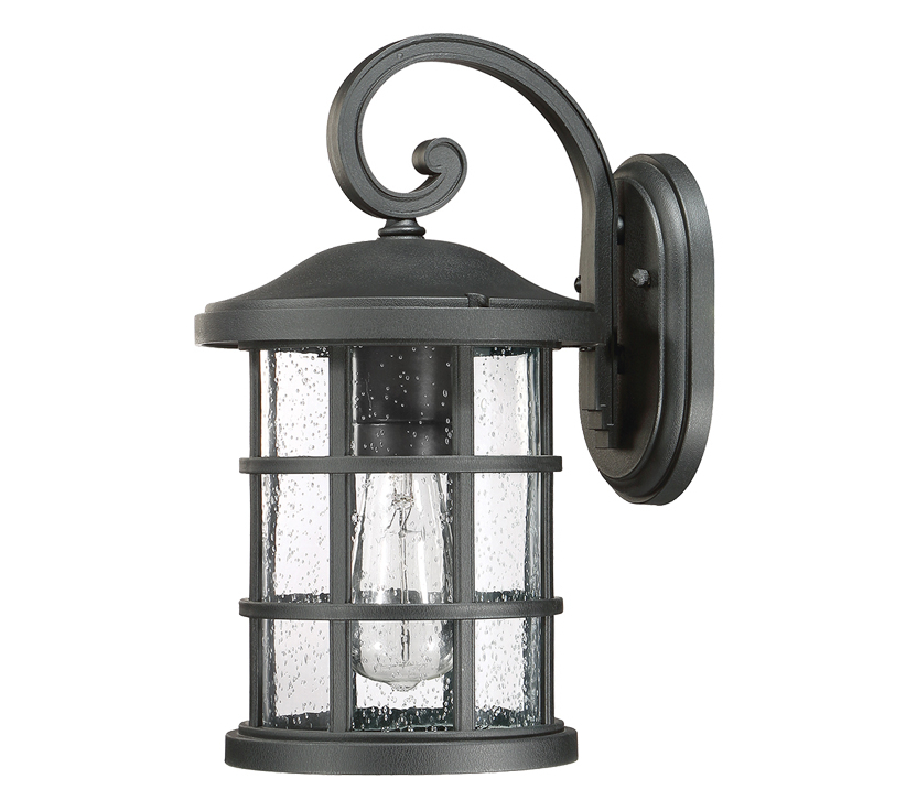 Palma Black/clear Seeded Glass Outdoor Wall Lanterns With Preferred Elstead Quoizel Crusade 1 Light Outdoor Medium Wall (View 7 of 15)