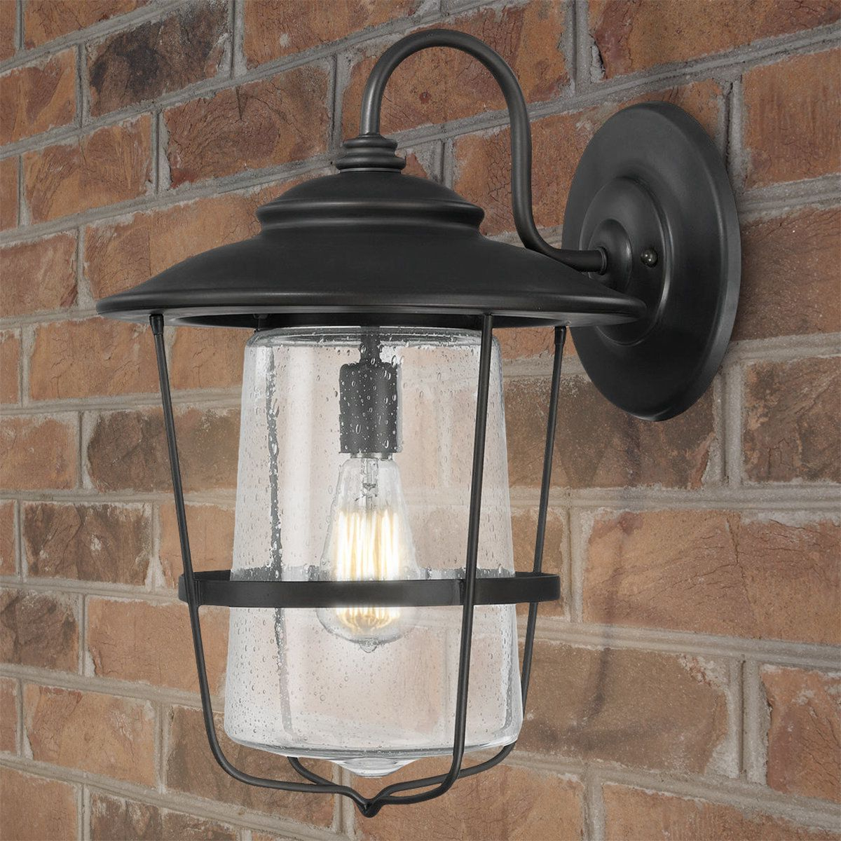 Palma Black/clear Seeded Glass Outdoor Wall Lanterns With Trendy Contemporary Seeded Glass Wall Lantern – Large (View 8 of 15)