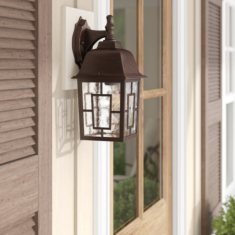 Payeur 12.25'' H Hammered Glass Outdoor Wall Lanterns Pertaining To Well Liked Sol 72 Outdoor™ Payeur  (View 2 of 15)