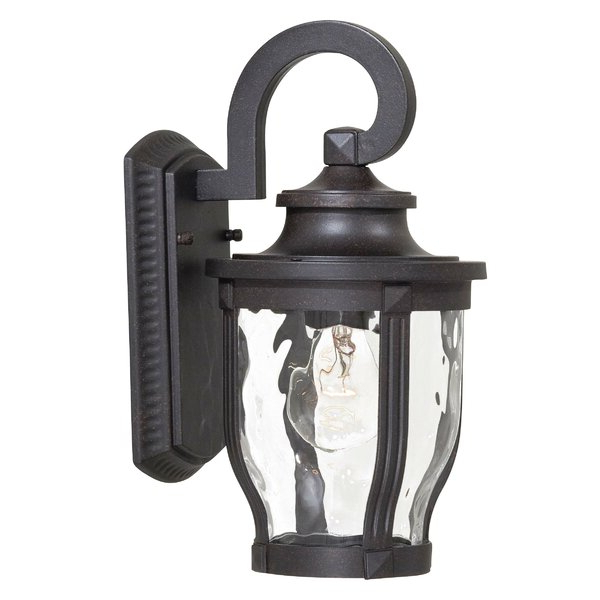 Payeur 12.25'' H Hammered Glass Outdoor Wall Lanterns Within Most Recently Released Charlton Home® Urbanek Corona Bronze  (View 15 of 15)