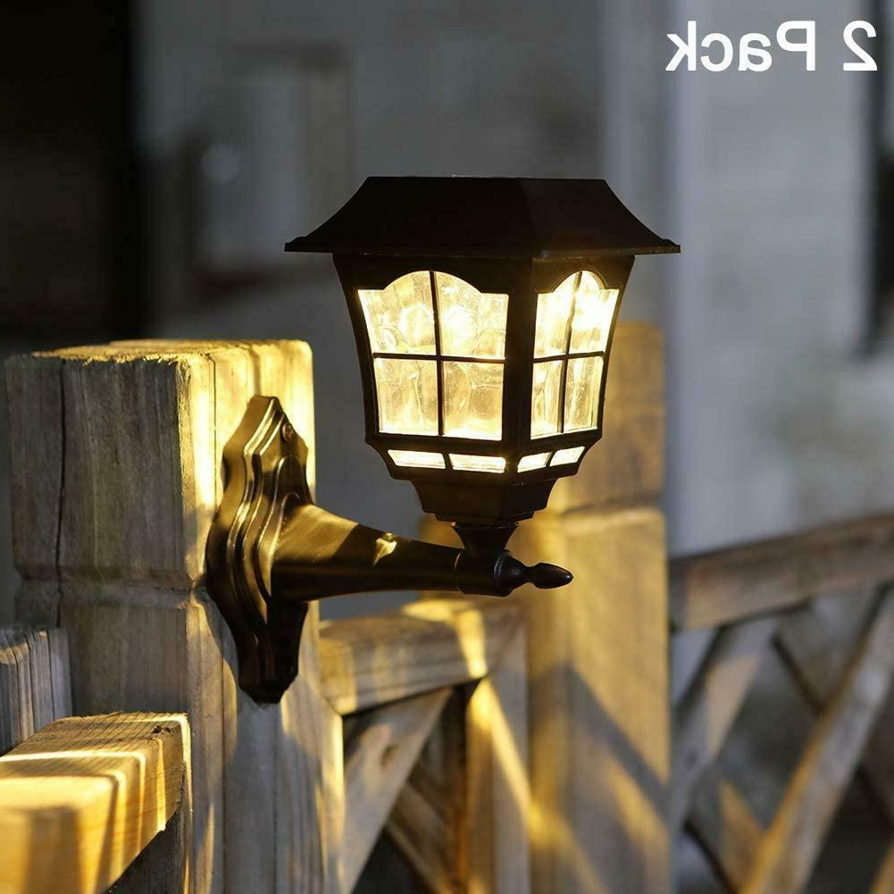 Popular 2 Pack Outdoor Solar Wall Mount Lantern Sconce Led Light Within Malak Outdoor Wall Lanterns (View 15 of 15)