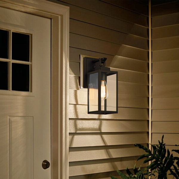 Popular Ballina Matte Black 9.3'' H Outdoor Wall Lanterns With Dusk To Dawn Regarding Industrial Lodge Home Ballina Matte Black  (View 2 of 2)