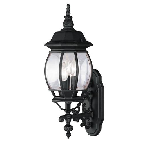 Popular Faunce 12'' H Beveled Glass Outdoor Wall Lanterns Throughout Livex Lighting Frontenac 22 In H Black Electrical Outlet (View 3 of 15)