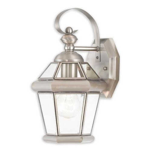 Popular Livex Lighting Georgetown 12 In H Brushed Nickel Throughout Faunce 12'' H Beveled Glass Outdoor Wall Lanterns (View 2 of 15)