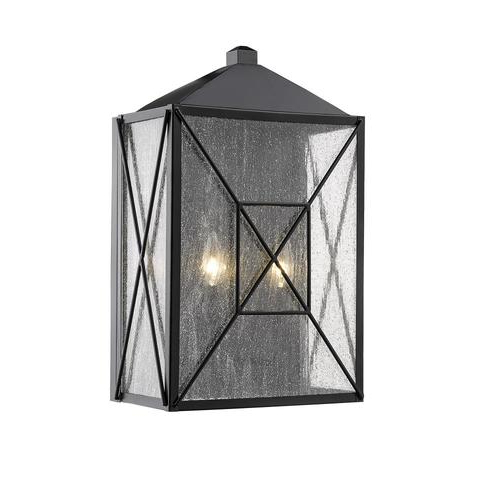 Popular Millennium Lighting 18 In H Powder Coat Black Medium Base Intended For Anner 18'' H Seeded Glass Outdoor Wall Lanterns (View 12 of 15)