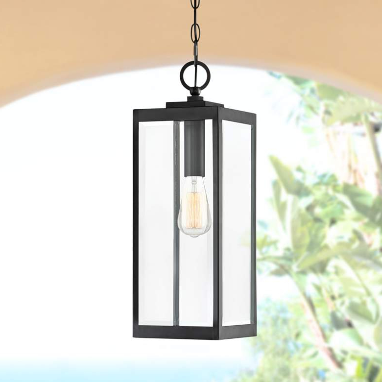 """Popular Quoizel Westover 20 3/4""""h Earth Black Outdoor Hanging Regarding Ainsworth Earth Black Outdoor Wall Lanterns (View 7 of 15)"""