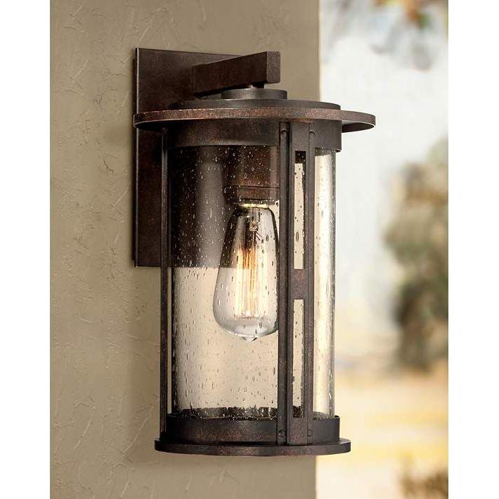 "Popular Ridgeland 13 1/2"" High Bronze Outdoor Wall Light – #3h648 Pertaining To Chicopee 2 – Bulb Glass Outdoor Wall Lanterns (View 6 of 15)"