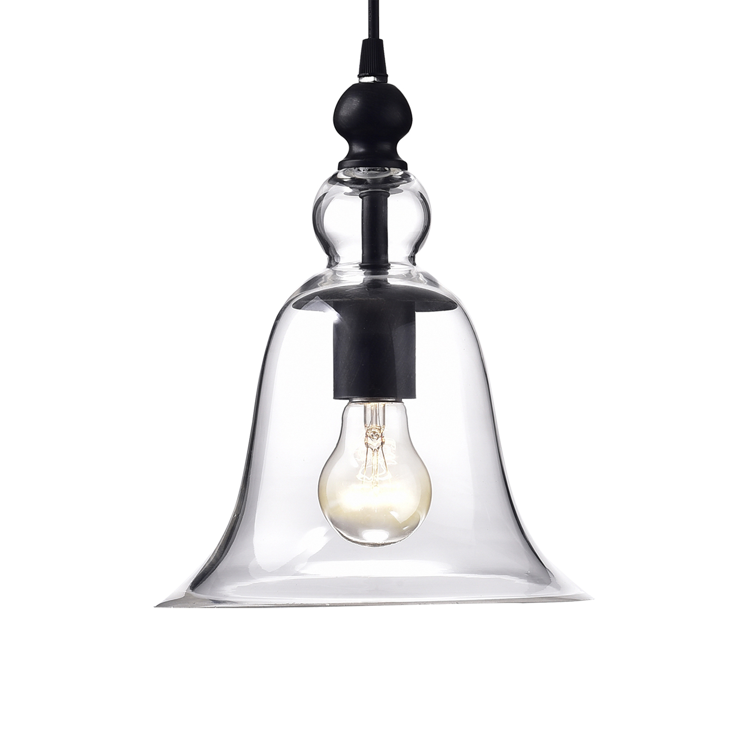 Powell 19'' H Beveled Glass Outdoor Wall Lanterns Regarding 2018 3 Light Antique Black Clear Glass Shade Pendant Kitchen (View 14 of 15)