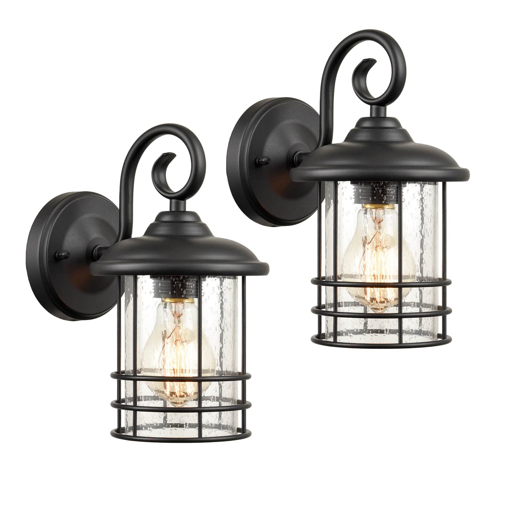 Preferred Industrial Outdoor/indoor Lantern Wall Sconces Clear Intended For Robertson 2 – Bulb Seeded Glass Outdoor Wall Lanterns (View 4 of 15)