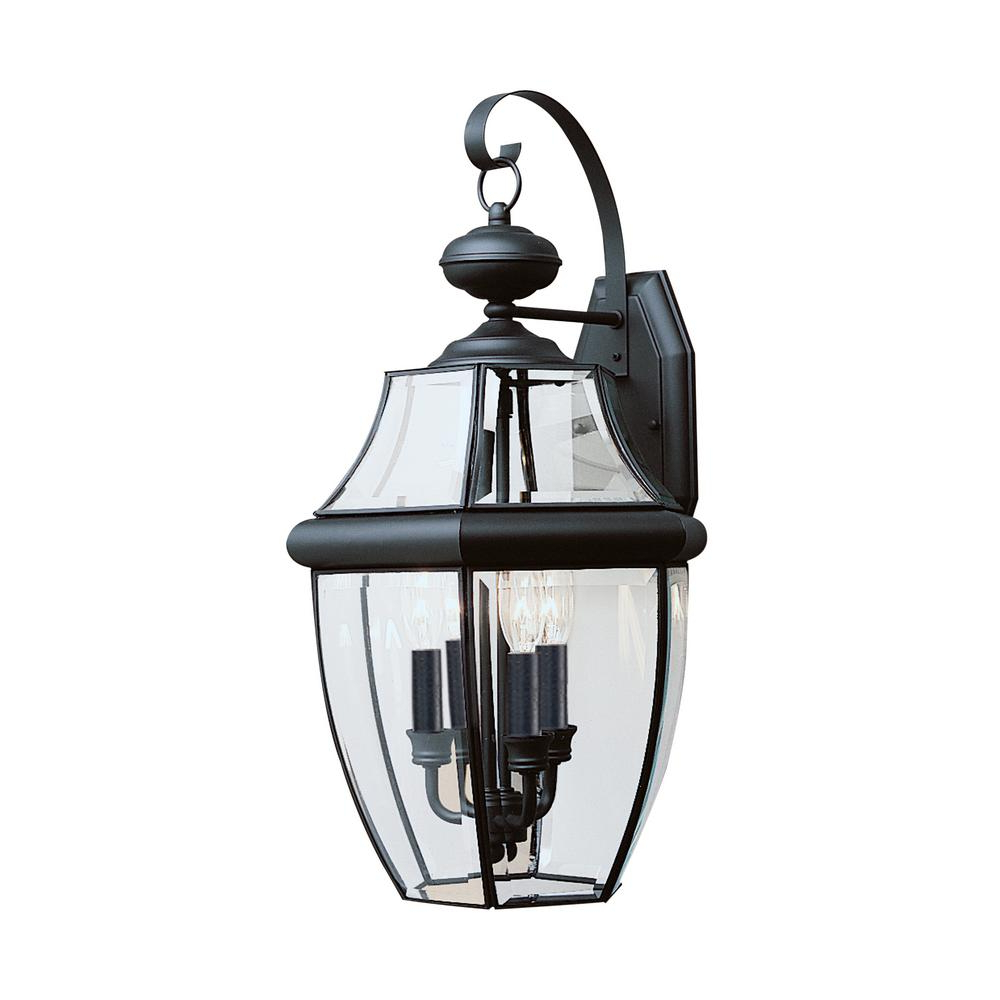 Preferred Sea Gull Lighting Lancaster 3 Light Black Outdoor Wall For Faunce 12'' H Beveled Glass Outdoor Wall Lanterns (View 9 of 15)