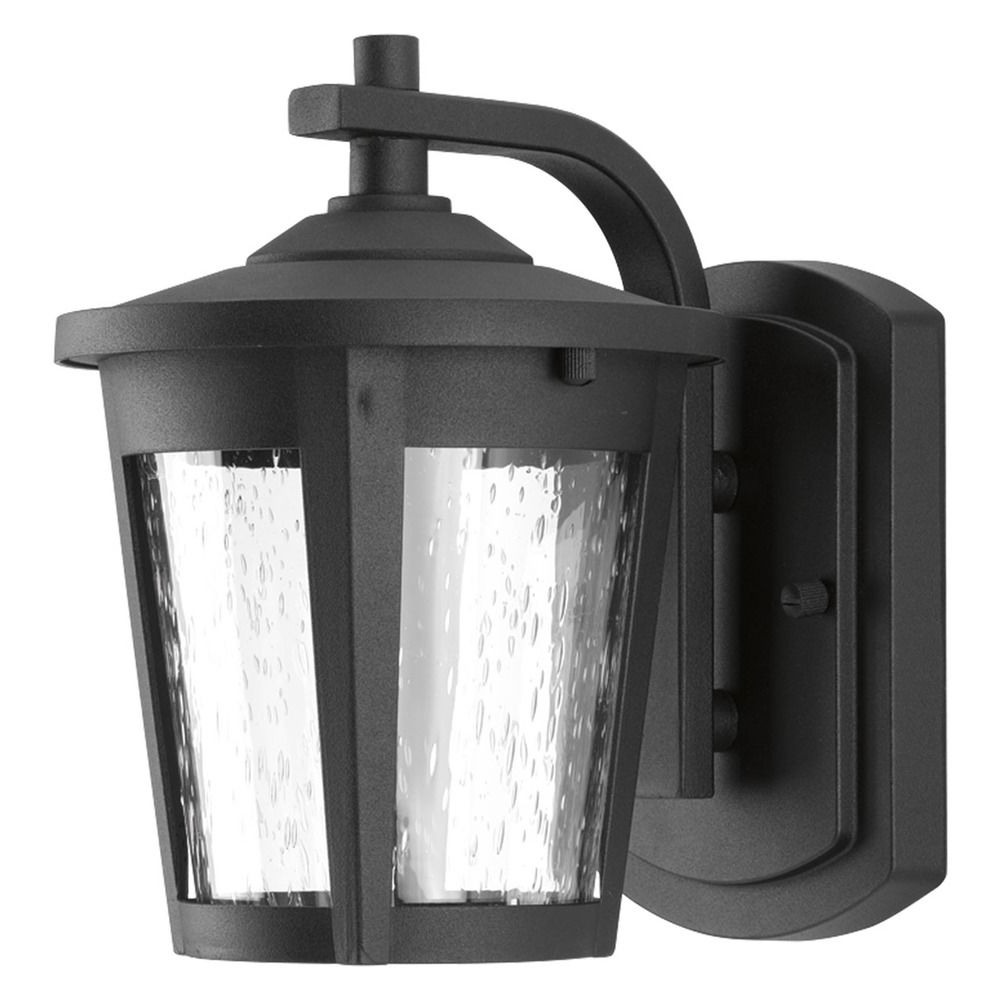 Preferred Seeded Glass Led Outdoor Wall Light Black Progress Throughout Emaje Black Seeded Glass Outdoor Wall Lanterns (View 5 of 15)