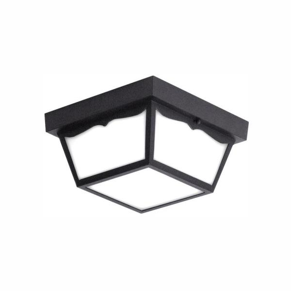 Preferred Whisnant Black Integrated Led Frosted Glass Outdoor Flush Mount Throughout Euri Lighting Matte Black Integrated Led Outdoor Flush (View 15 of 15)