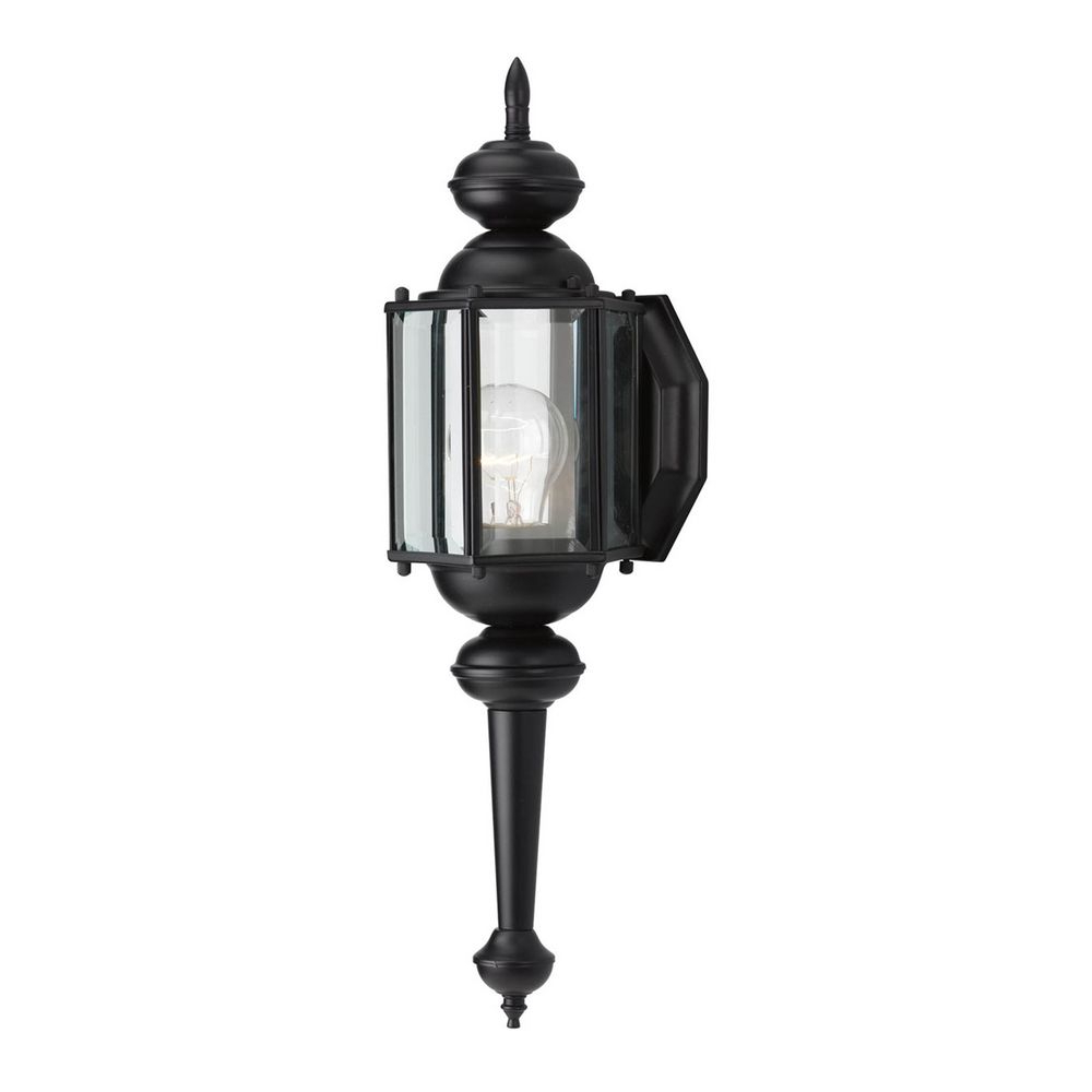 Progress Hexagon Outdoor Lantern Black Finish Beveled Throughout Fashionable Anner 18'' H Seeded Glass Outdoor Wall Lanterns (View 6 of 15)